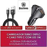 Carregador Automotivo Veicular Turbo Baseus + Cabo Type C 1M com Led Baseus (Preto)