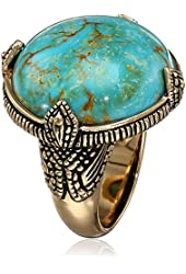 "Barse ""Village"" Genuine Turquoise Bronze Prong Ring"