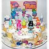 "Dreamworks Trolls Movie Deluxe Mini Cake Toppers Cupcake Decorations Set of 17 with Figures and ""Treasure Troll..."