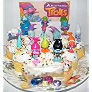 "Dreamworks Trolls Movie Deluxe Mini Cake Toppers Cupcake Decorations Set of 17 with Figures and ""Treasure Troll"" Jewels Featuring Princess Poppy, Branch and More!"