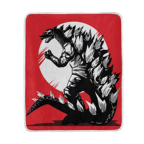 Red Godzilla Dinosaur Soft Warm Throw Blankets Lightweight Velvet Short Plush Microfiber Blanket for Bed Couch Chair Sofa Travelling Camping 60'' x 50'' ()