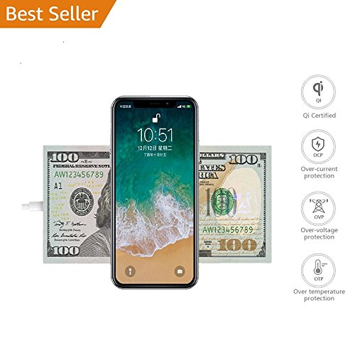 iPhone X Wireless Charger - Wzpiss Fast Wireless Charger Charging Pad Stand for Samsung Galaxy Note 8/S8/S8 Plus,S7/S7 Edge, Nexus 7/6/5/4, Nokia Lumi Standard Charge for iPhone X, iPhone 8/8 Plus