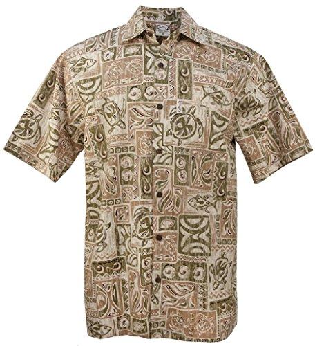 Hawaiian Barefoot Shirt Go (Go Barefoot Honu Tapa Men's Hawaiian Print Aloha Shirt - in Khaki - XX-Large)
