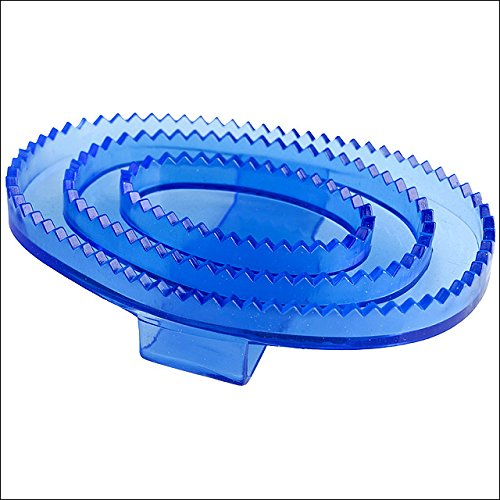 Horze WESTERN TACK FLEXIBLE RUBBER HORSE TRANSPARENT CURRY COMB LARGE BLUE