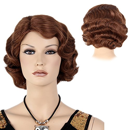 Finger Wave Wig Brown Bob Short Curly for Women Cosplay Party Costume Hair 16.5