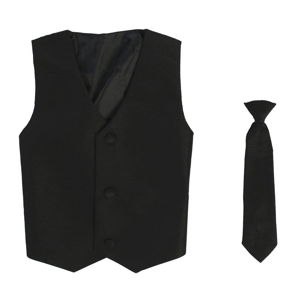 Lito Little Boys Black Poly Silk Vest Necktie Special Occasion Set 2T-7
