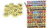 Emoji Pencils & Erasers (96 Pcs)