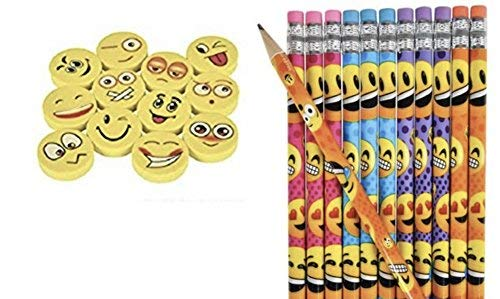 Emoji Pencils & Erasers (96 Pcs) -