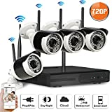 SW SWINWAY 4Channel 720p HD Wireless Security Camera System with 4 HD Outdoor Wifi IP Cameras (Auto-Pair, Built-in Router, 1.0MP Camera,3.6mm Wide Angle, Without Hard Drive)