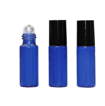 10 paquetes X azul rollo de cristal en botellas Mini vacíos recargables aceites esenciales Roller Botellas