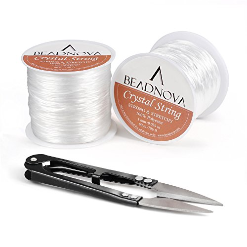 BEADNOVA 1mm Elastic Stretch Polyester Jewelry Bracelet Crystal String Cord 60m Roll (2 Roll String with Sewing Fishing Scissors Snips Beading Thread Cutter Embroidery Nippers)