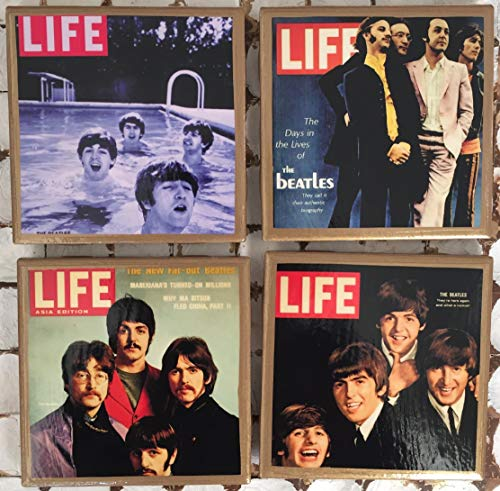 Coasters! Vintage Life magazine cover coasters with gold trim