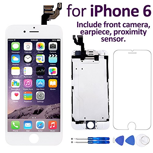 "Corepair iPhone 6(4.7"") Screen Replacement White – Corepair Full Assembly Retina LCD Display Touch Digitizer with Front Camera, Ear Speaker, Proximity Sensor, Screen Protector, Repair Tools"
