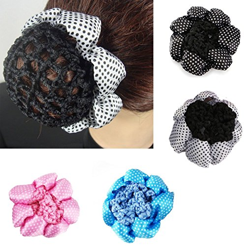 l Women Bun Cover Snood Ballet Dance Polka Dot Hair Net hair Accessories ()