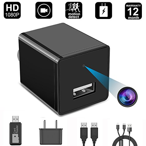 Hidden Camera, 1080P HD Spy Camera charger with Motion Detection Loop Video Record for Home Office Security Surveillance