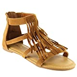 BAMBOO DINO-71S Womens Closed Back Multi Straps Flat Fringe Sandals