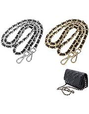 Vervangende tas Chain,2 stuks vervangende tas riem ketting, eenvoudig en stijlvol, 118cm, metalen schouderriem ketting, geschikt voor portefeuilles, handtassen, schoudertassen, boodschapper tassen (goud/zilver)