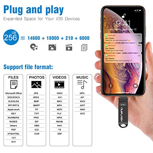 USB Flash Drive 256GB for iPhone Memory Stick USB 3.0 Photo Stick Thumb Drive for iOS Device iPad MAC, with a USB C and a Micro USB by Adapters for Android Phone(256GB Black)