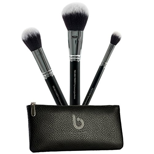 Face Powder Makeup Brush Set  3pc Large Fluffy Powder Make Up Brushes with Case for Setting, Finishing, Buffing and Blending Loose, Compact, Mineral Powders; Synthetic, Vegan, Cruelty Free