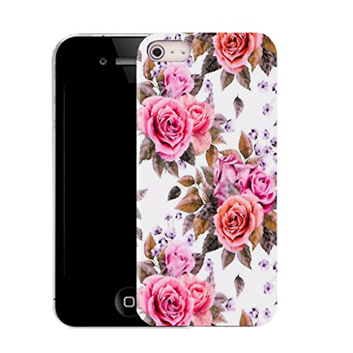 Mobile Case Mate IPhone 5S clip on Silicone Coque couverture case cover Pare-chocs + STYLET - dainty carnation pattern (SILICON)