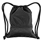Esvan proof Gymbag Large Drawstring Backpack Gymsack Sackpack For Sport Traveling Basketball Yoga Running(Black) Review
