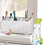 Gift Included- 3-Drawer Cosmetics Wooden Beauty Organizer + FREE Bonus Water Bottle by Homecricket
