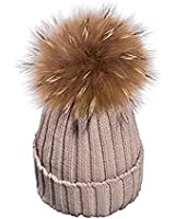 dedc796e893 MMTX Women Winter Rib Knit Hats Hedging Beanie Cap Warm Outdoor Fashion Hat  with Chunky Faux
