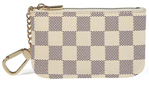 - Daisy Rose Luxury Zip Checkered Key Chain pouch | PU Vegan Leather Mini Coin Purse Wallet with clasp