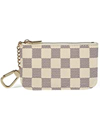 Luxury Zip Checkered Key Chain pouch   PU Vegan Leather Mini Coin Purse Wallet with clasp
