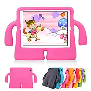 Lioeo iPad Pro 9.7 Case Kids iPad Air Case Kids iPad Air 2 Case Cartoon LightWeight Shockproof Durable Protection Cases EVA Foam Protective Cases and Covers for Apple iPad 5 6 New iPad 2017 (Hot Pink)