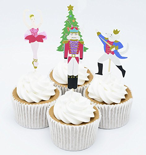 Kids Nutcracker - BETOP HOUSE Set of 24 Pieces The Nutcracker and The Mouse King Themed Party Decorative Cupcake Topper for Kids Birthday Party Baby Shower Christmas Party (#2)