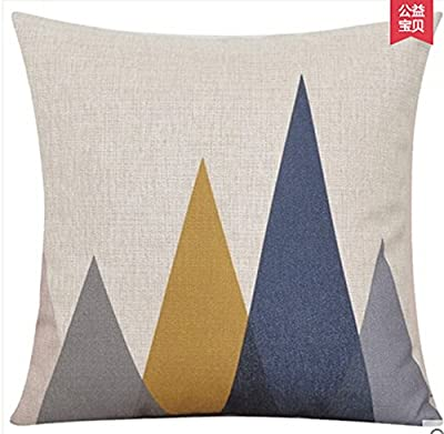 Elephant Deer Mountains Cotton Linen Throw Pillow Case Cushion Cover Home Sofa Decorative 18 X 18 Inch