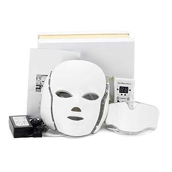 Forewan Máscara Led Con Cuello Terapia Facial De Luz Lámpara De Cuidado De La Piel De 7 Colores Antiarrugas Antirelajación Beauty