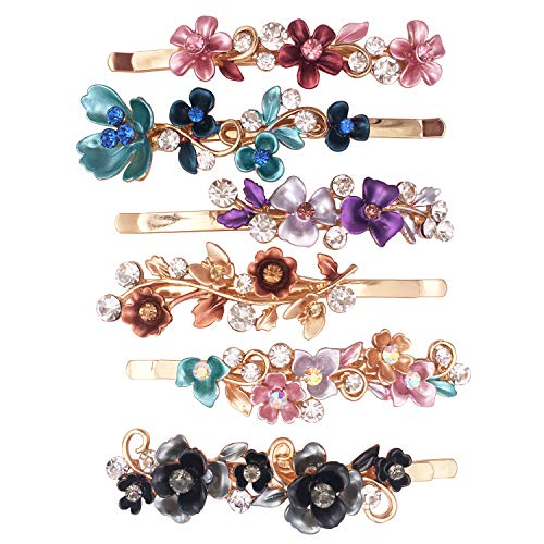 6PCS Colorful Vintage Flower Design Metal Hair Pins Slides Accessories Women Girls