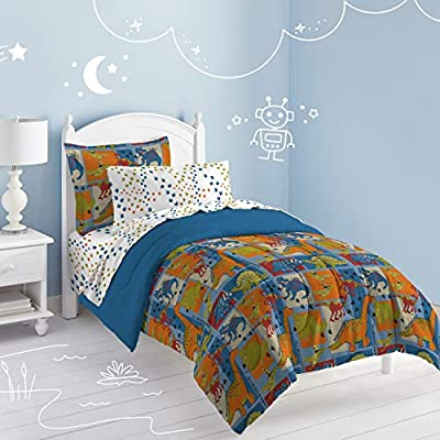 Dream Factory Dinosaur Blocks Ultra Soft Microfiber Boys Comforter Set, Blue, Twin: Home & Kitchen