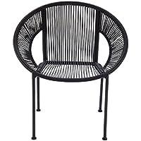 Benzara Comfortable Metal Plastic Rattan Chair, 29 x 30, Brown