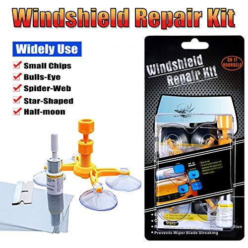 (Manelord Car Windshield Repair Kit, Do it Yourself Windshield Repair Kit with Windshield Repair Resin for Repairing Auto Glass Windshield Crack Chips, Bulls-Eye, Spider Web, Star-Shaped, Half-Moon)