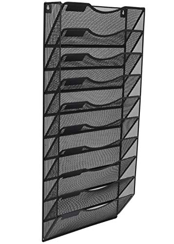 EasyPAG Office Wall File Holder Organizer Hanging Metal Magazine Rack 10 Tier, Black