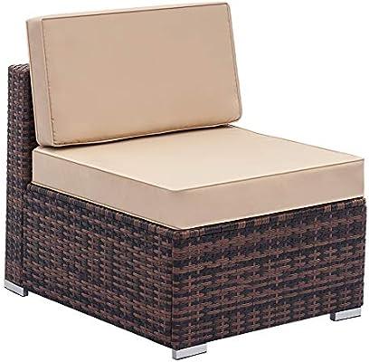Tenozek Fully Equipped Weaving Rattan Sofa Set Brown Gradient-Single Sofa(Brown, Single Sofa)