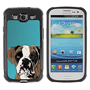 ZETECH CASES / Samsung Galaxy S3 I9300 / BOXER ART DRAWING DOG BROWN WHITE / boxeador arte dibujo perro marrón blanco / Robusto Caso Carcaso Billetera Shell Armor Funda Case Cover Slim Armor