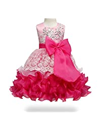 ONCEMORE Princess Girl Pageant Party Tulle Lace Dress with Sleeveless