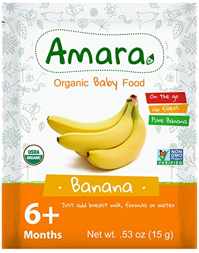 Baby Food Stage 2 ORGANIC - NON GMO & GLUTEN FREE - Banana Flavor (42 Pouches) for 6 Month Happy Healthy Toddlers - Best Natural Dried Fruit & Vegetable Mix with Breast Milk Formula or Water by Amara