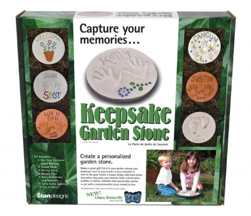 Elan Designs Keepsake Garden Stone Kit - Butterfly Glass Decorations - Unique Concrete Mix (Garden Keepsake)