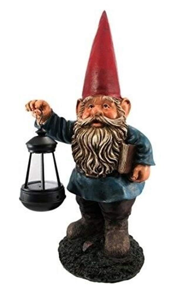 Ky & Co YesKela Garden Gnome Holding Lantern Statue Solar Powered LED Light Figurine 17'' H