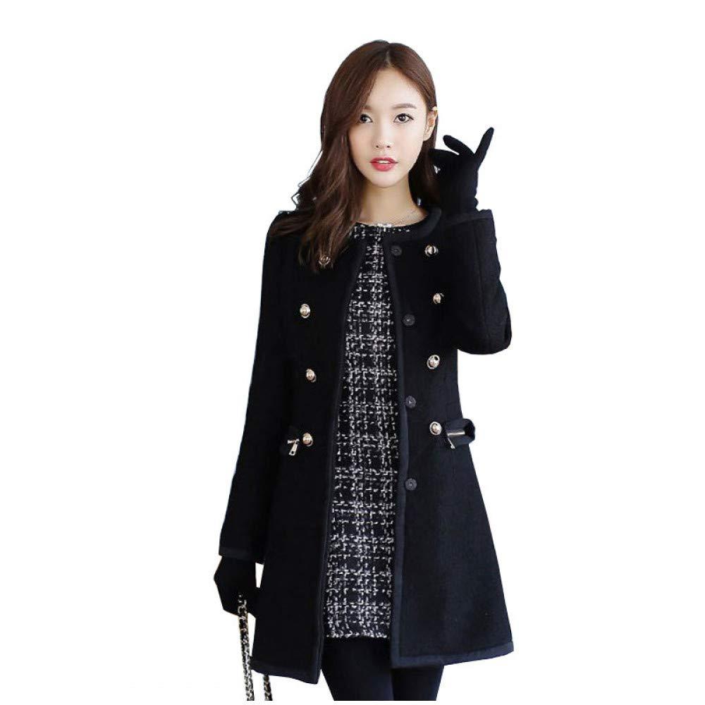 SUIFENG@ Frauen Trenchcoat Herbst und Winter Koreanische Version des Dünnen Dünnen Wollmantel Fellkragen Zweireihig Trenchcoat