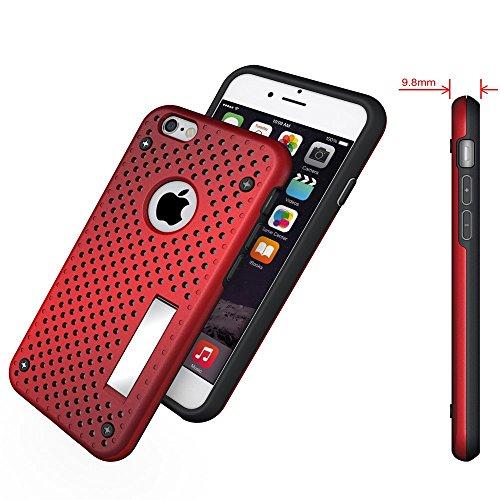 Apple iPhone 6/6S Housse Case Étui Grille avec Support Rouge decui Rouge Gel/TPU Étui Coque