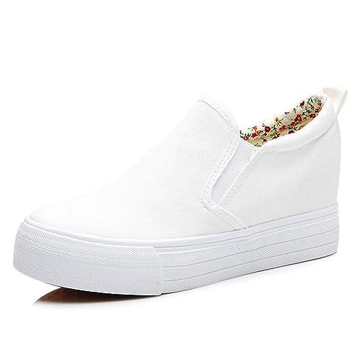 Mocasines Gruesos para Mujer Plataforma Plana Moda para Mujer Zapatillas de Lona sin Cordones Negro Blanco