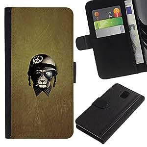 iKiki Tech / Cartera Funda Carcasa - War Peace Veteran Warrior - Samsung Galaxy Note 3 N9000 N9002 N9005