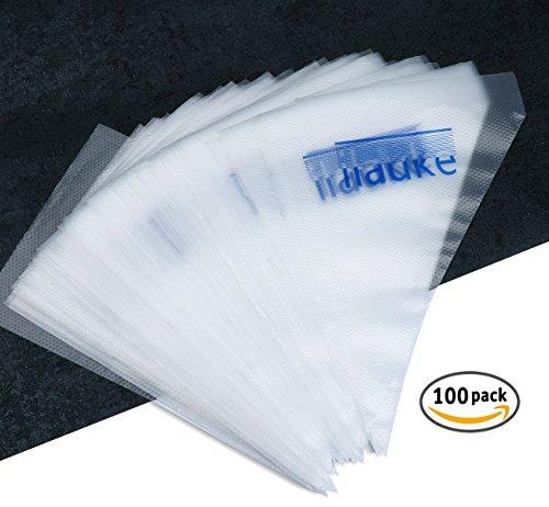 ilauke 100 Einweg Spritzbeutel Spritztüten Beutel für Spritztüllen Set groß Konditorei Einwegspritzbeutel 26 X 16 cm extra dick Strong 4c 0,04mm (100 Stück)