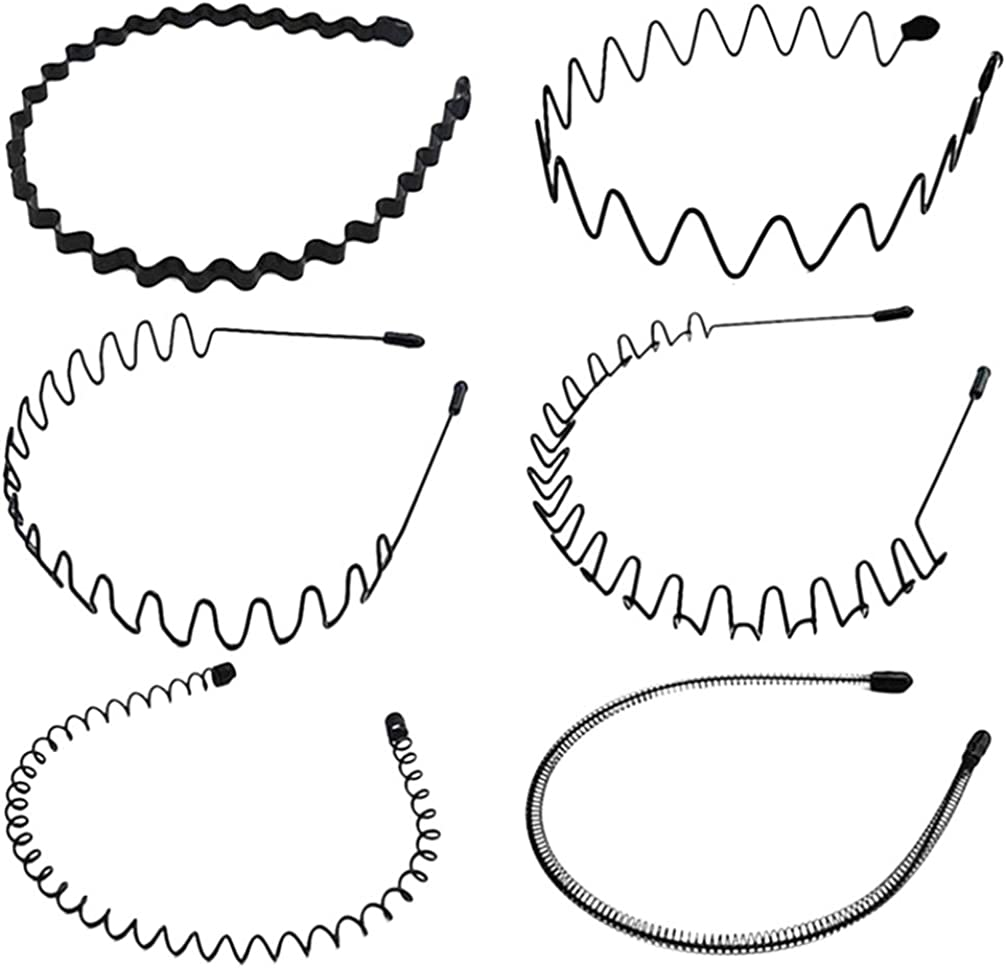 Lurrose 6Pcs Bandas para El Cabello de Metal Diademas Onduladas de Plástico Flaco Antideslizante Flexible Primavera Aros para El Cabello Accesorios para El Cabello para Mujeres Hombres